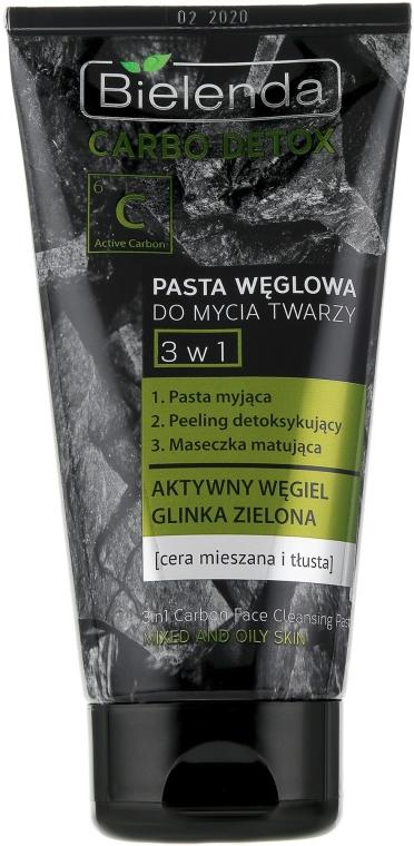 Pasta węglowa do mycia twarzy 3 w 1 do cery mieszanej i tłustej - Bielenda Carbo Detox