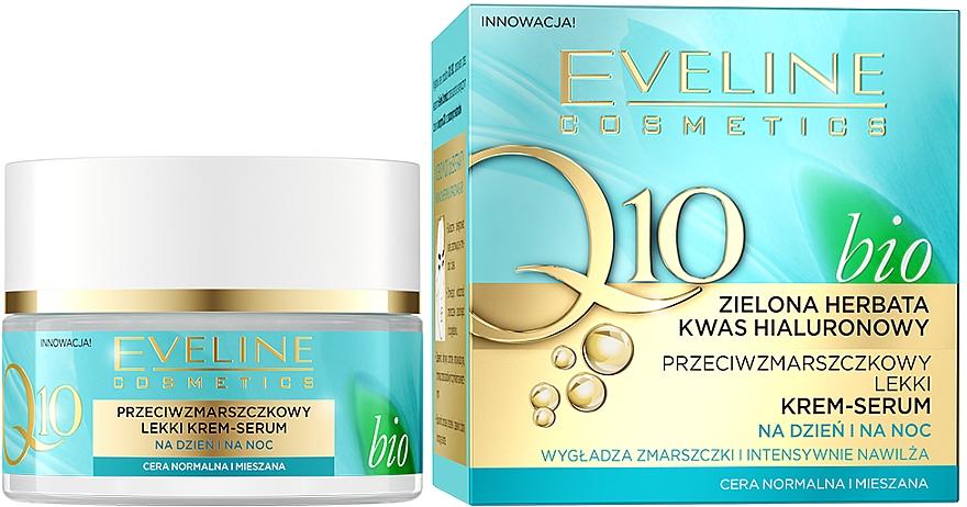 Przeciwzmarszczkowy lekki krem-serum na dzień i na noc - Eveline Cosmetics Q10 Bio