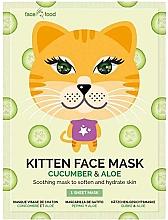 Kup Kojąca maska na tkaninie do twarzy z ekstraktem z ogórka i aloesu Kotek - 7th Heaven Face Food Kitten Face Mask Cucumber & Aloe