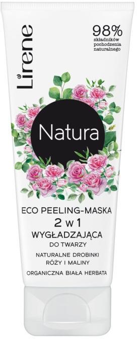 Wygładzający ekopeeling-maska 2 w 1 do twarzy z naturalnymi drobinkami róży i maliny Organiczna biała herbata - Lirene Natura Eco Peeling-Mask