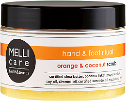 Kup PRZECENA! Oczyszczająco-relaksujący peeling solno-cukrowy do dłoni i stóp Pomarańcza i kokos - Melli Care Hand & Foot Ritual Orange & Coconut Scrub *