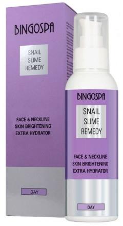 Krem do twarzy, szyi i dekoltu ze śluzem ślimaka - BingoSpa Snail Slime Remedy Face And Neckline Skin Brightening Extra Hydrator — фото N1