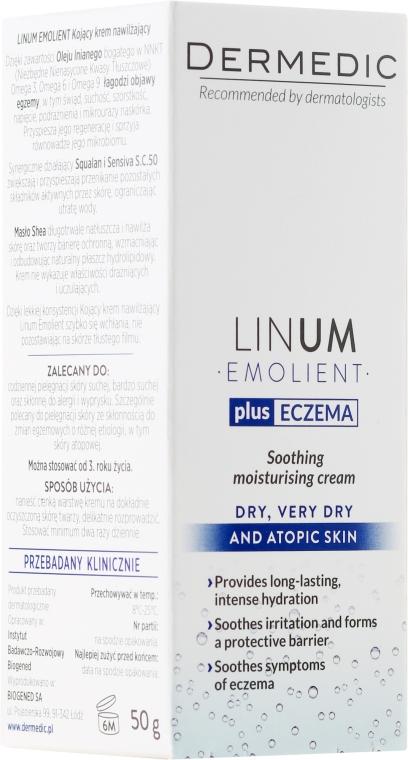 Kojący krem nawilżający do skóry suchej, bardzo suchej i atopowej - Dermedic Linum Emolient Plus Egzema — фото N1