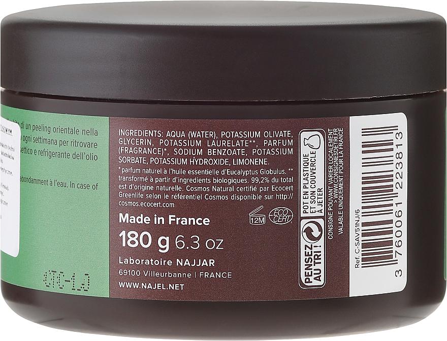 PRZECENA! Czarne peelingujące mydło aleppo z eukaliptusem - Najel Black Savon Noir Aleppo Soap Eucalyptus Body Peeling * — фото N2