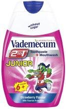 Kup Truskawkowa pasta do zębów i płyn do płukania jamy ustnej dla dzieci - Vademecum Junior 2 in 1 Toothpaste + Mouthwash
