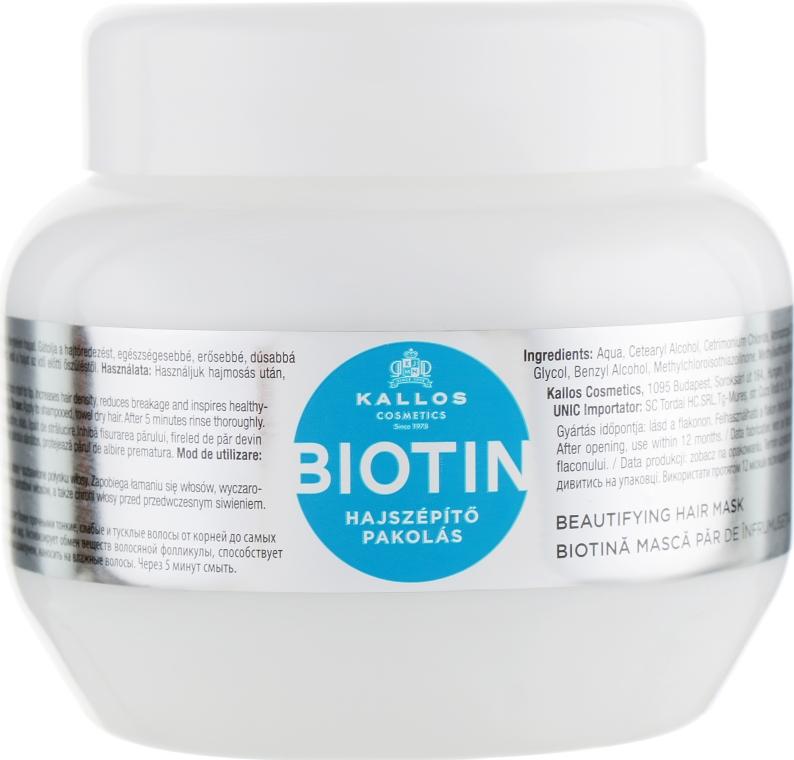 Upiększająca maska na porost włosów - Kallos Cosmetics Biotin Beautifying Hair Mask