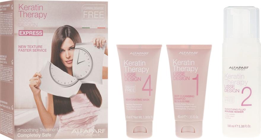 Zestaw do keratynowego wygładzania włosów - Alfaparf Milano Lisse Design Keratin Therapy Smoothing Treatment Kit (shm 40 ml + mousse 100 ml + hair/mask 40 ml)