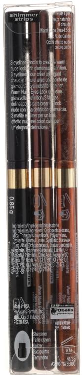 Zestaw trzech eyelinerów w ciepłych odcieniach - Physicians Formula Shimmer Strips Custom Eye Enhancing Eyeliner Trio Warm Nude Eyes — фото N2