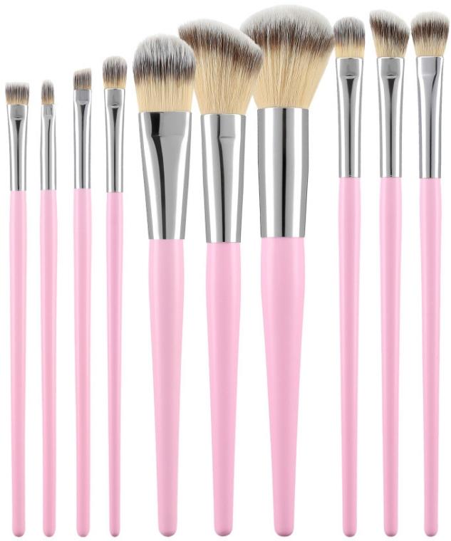Zestaw profesjonalnych pędzli do makijażu, różowe, 10 szt. - Tools For Beauty