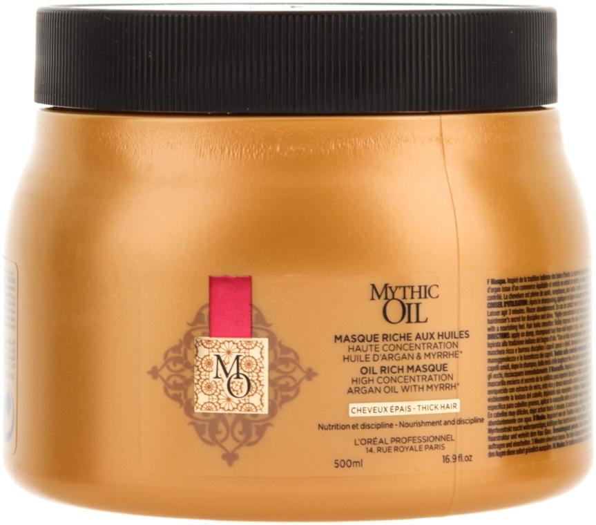 Maska dyscyplinująca do włosów grubych - L'Oreal Professionnel Mythic Oil Rich Masque For Thick Hair