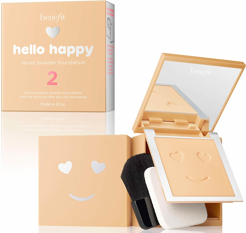 Podkład w pudrze do twarzy - Benefit Hello Happy Velvet Powder Foundation — фото N1