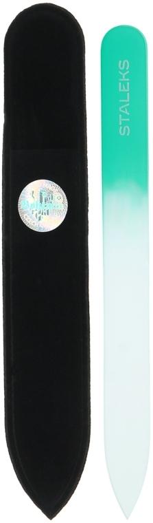Pilnik szklany do paznokci, F4-12-120, turkusowy - Staleks (12 cm) — фото N1