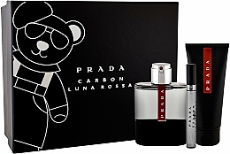 Prada Luna Rossa Carbon - Zestaw (edt/100ml + sh/gel/100ml + edt/10ml) — фото N1