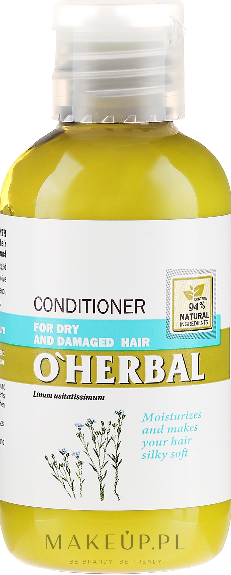Odżywka z ekstraktem z lnu do włosów suchych i zniszczonych - O'Herbal — фото 75 ml