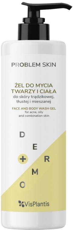 Kojący żel dziegciowy do mycia twarzy i ciała do skóry trądzikowej, tłustej i mieszanej - Vis Plantis Problem Skin
