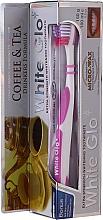 Kup Zestaw wybielający zęby dla miłośników kawy i herbaty, różowy - White Glo Coffee & Tea Drinkers Formula Whitening Toothpaste (toothpaste/100ml + toothbrush)