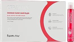 Kup Odżywczy wypełniacz w ampułkach do suchych włosów i skóry głowy - FarmStay Ceramide Damage Clinic Hair Filler