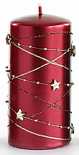 Kup Świeca dekoracyjna, burgundowy walec, 7 x 10 cm - Artman Christmas Garland
