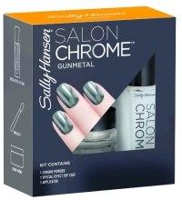 Kup Zestaw - Sally Hansen Salon Chrome Gunmetal (chrome powder/1g + top coat/5ml + applicator)