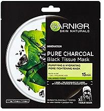 Kup Oczyszczająco-nawilżająca czarna maska na tkaninie zwężająca pory - Garnier Pure Charcoal Black Tissue Mask