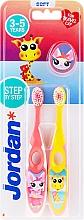 Kup Szczoteczka do zębów dla dzieci, 3-5 lat, różowa + żółta, z żyrafą - Jordan Step By Step Soft Clean