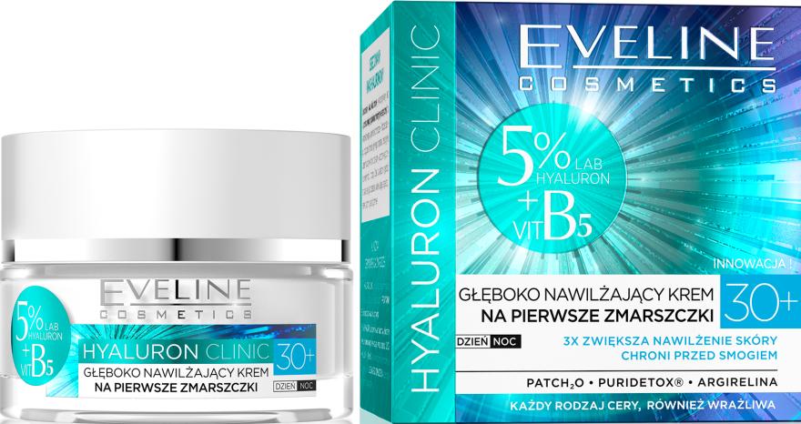 Głęboko nawilżający krem do twarzy na pierwsze zmarszczki 30+ - Eveline Cosmetics Hyaluron Clinic