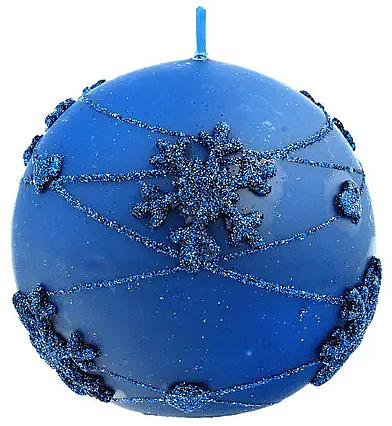 Świeca dekoracyjna, kula, niebieska, 8 cm - Artman Snowflake Application — фото N1