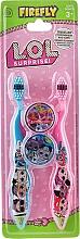Kup Zestaw szczoteczek do zębów, miękkie, niebieska+różowa - Ep Line LOL Surprise (toothbrush/2szt + case/2szt)
