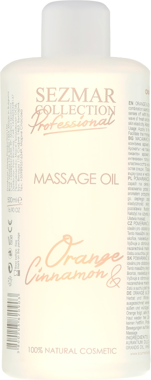 Olejek do masażu Pomarańcza i cynamon - Sezmar Collection Professional Massage Oil Orange & Cinnamon — фото N1