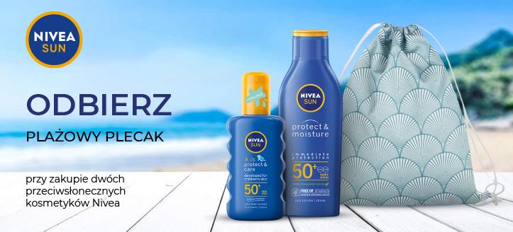 Kup dwa przeciwsłoneczne kosmetyki Nivea, a plażowy plecak otrzymasz w prezencie.
