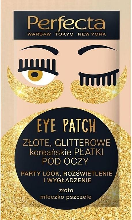 Rozświetlające płatki pod oczy - Perfecta Gold Glitter Eye Patch