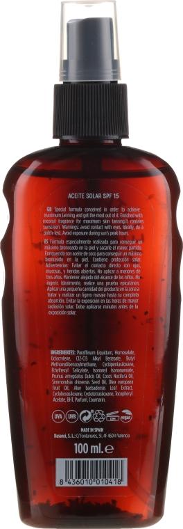 Olejek do opalania - Mediterraneo Sun Coconut Suntan Oil Dark Tanning SPF15 — фото N2