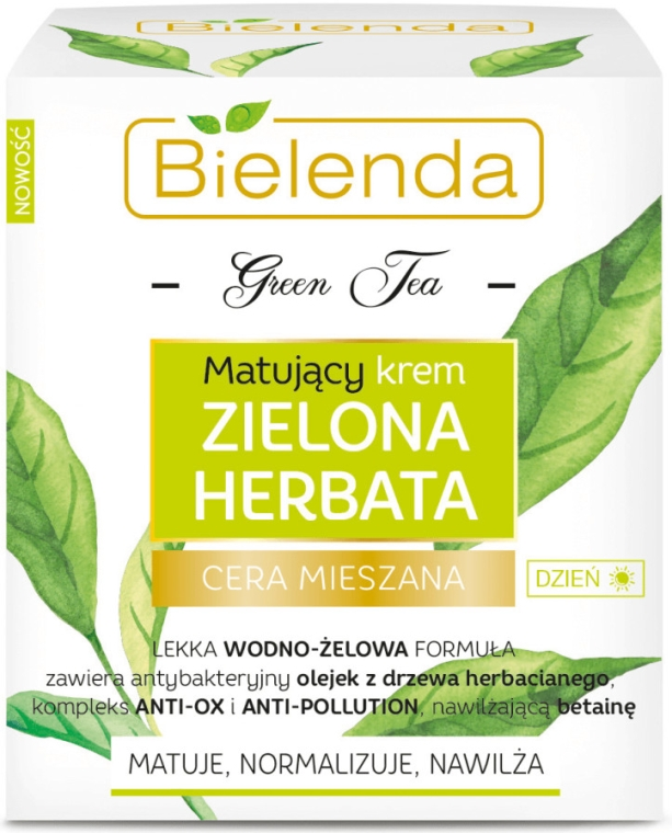 Matujący krem na dzień do cery mieszanej Zielona herbata - Bielenda Green Tea — фото N1