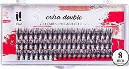 Kup Kępki sztucznych rzęs 0,1 mm, 8 mm - Ibra Extra Double 20 Flares Eyelash C 8 mm