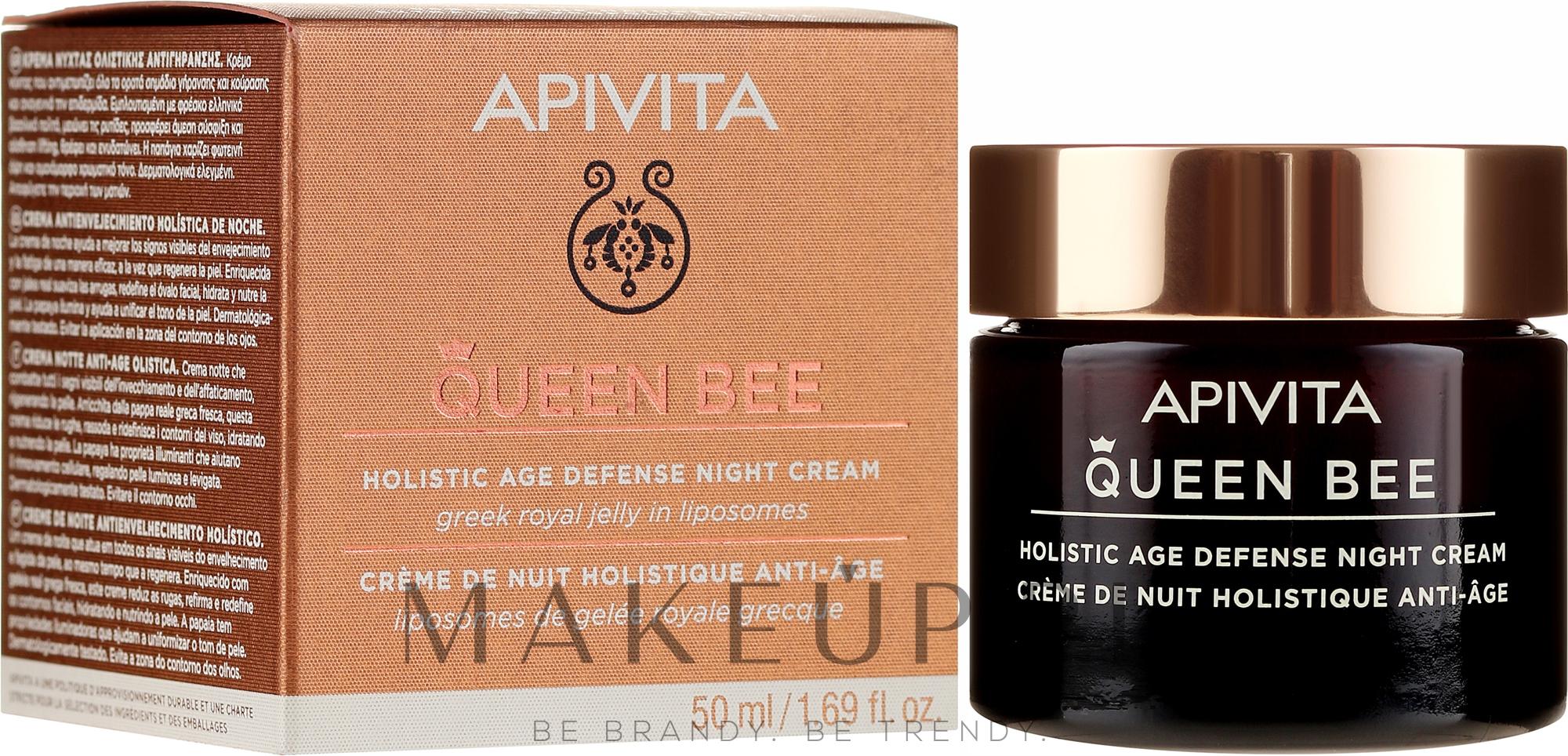 Przeciwstarzeniowy krem do twarzy na noc - Apivita Queen Bee Holistic Age Defense Night Cream — фото 50 ml