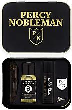 Kup Zestaw - Percy Nobleman (comb + beard/oil 10 ml + wax 5 ml + badge)