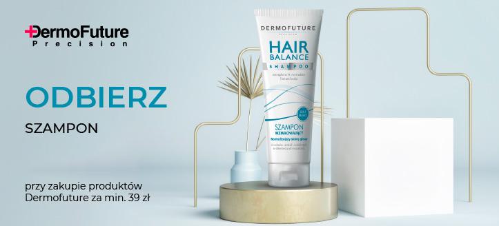 Kup produkty Dermofuture za min. 39 zł, a wzmacniający szampon do włosów otrzymasz w prezencie.