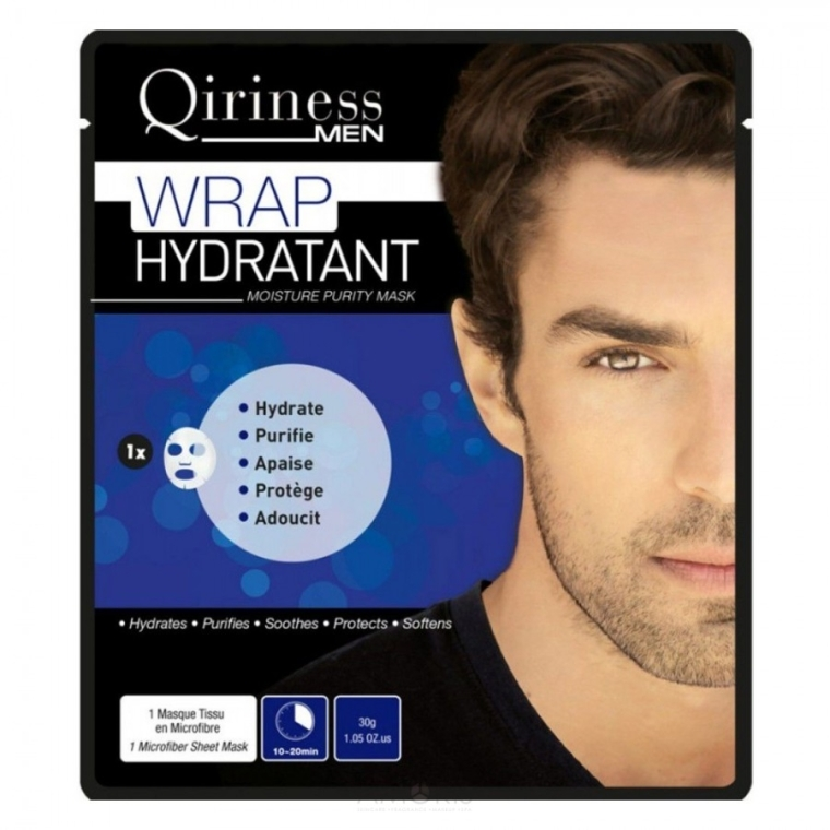Nawilżająca maska na tkaninie do twarzy dla mężczyzn - Qiriness Wrap Hydratant Moisture Purity Mask — фото N1