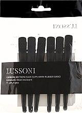 Kup Klipsy fryzjerskie z włókna węglowego z elastyczną gumką, czarne - Lussoni