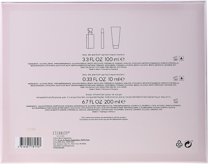 Calvin Klein Eternity For Woman - Zestaw (edp 100 ml + edp 10 ml + b/lot 200 ml) — фото N2