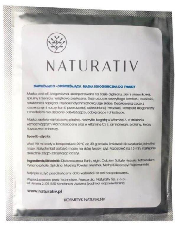 Nawilżająco-odświeżająca maska kriogeniczna do twarzy - Naturativ Face Mask — фото N1