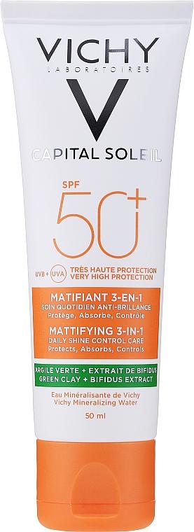 Krem matujący do twarzy SPF 50+ - Vichy Capital Soleil Mattifying 3-in-1 SPF 50+