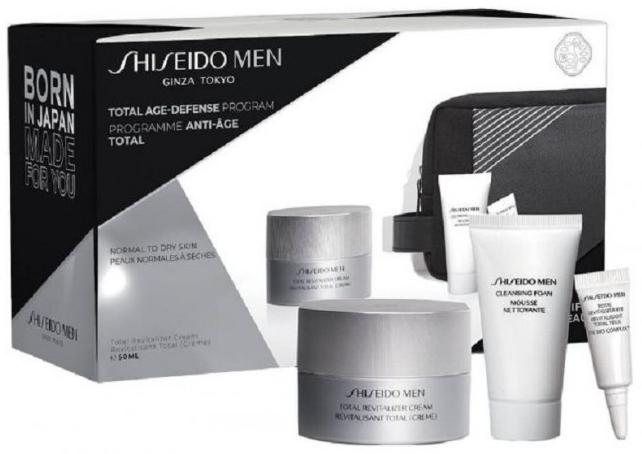 Zestaw dla mężczyzn - Shiseido Men Total Age-Defense Program Set (cr/50ml + foam/30ml + eye/cr/3ml + bag) — фото N1