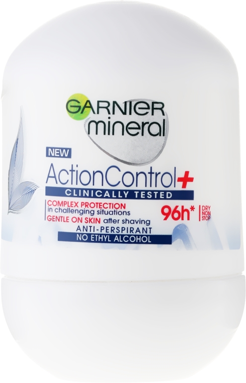 Mineralny antyperspirant w kulce - Garnier Mineral Action Control Clinically 96H Anti-Perspirant Roll-On — фото N1