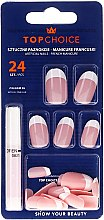 Kup Sztuczne paznokcie z klejem Manicure francuski, 74066 - Top Choice