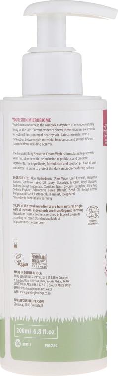 Delikatny probiotyczny krem do kąpieli dla dzieci - Pure Beginnings Organic Baby Probiotic Baby Sensitive Cream Wash — фото N2