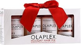 Kup Zestaw odbudowujący do włosów zniszczonych, osłabionych, suchych - Olaplex Holiday Hair Fix (cond/100ml + shmp/100ml + h/cr/100ml + ser/100ml)