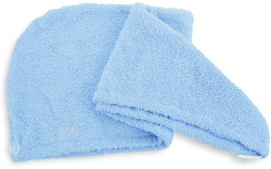 Błękitny ręcznik-turban do włosów (68 x 26 cm) - Makeup