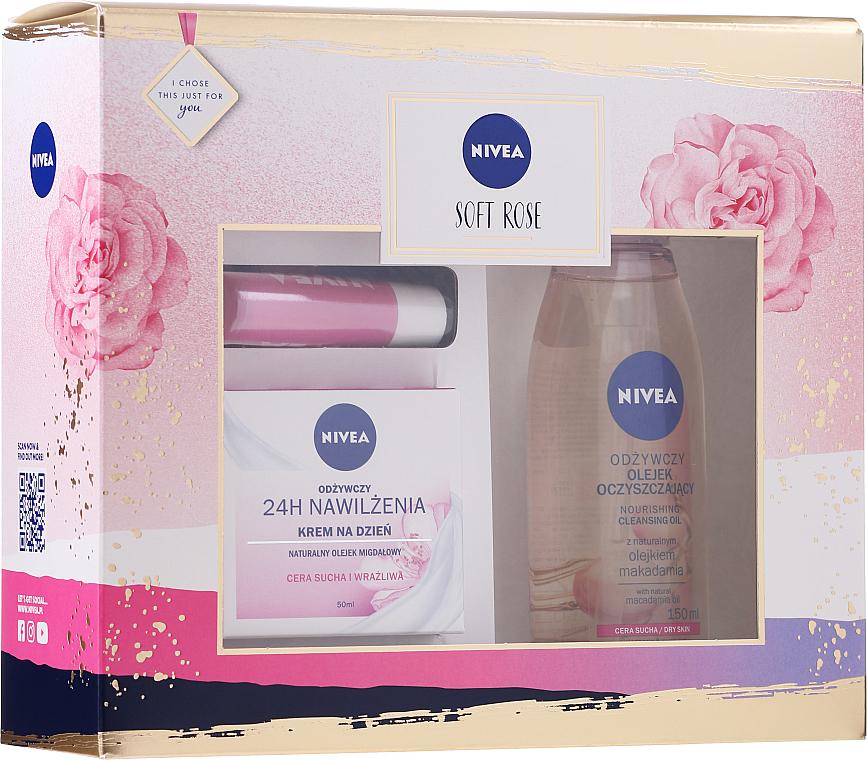 PRZECENA! Zestaw - Nivea Soft Rose (cr/50ml + f/oil/150ml + lip/balm/4.8g) * — фото N1