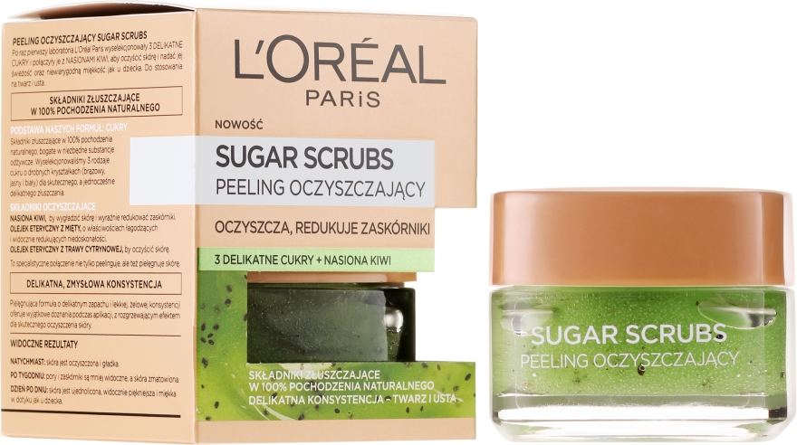 Oczyszczający peeling do twarzy i ust - L'Oreal Paris Sugar Scrubs